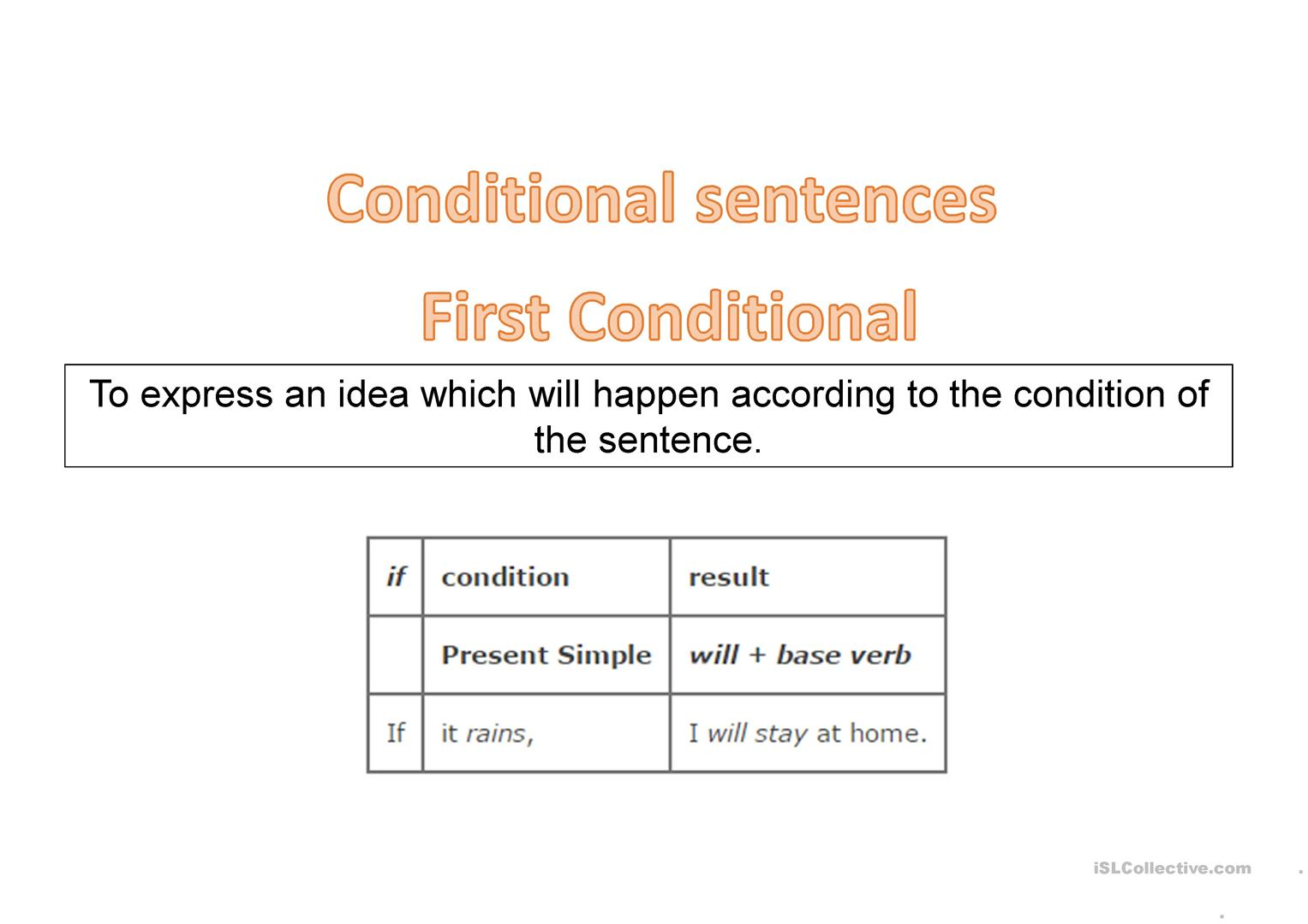 Conditional Sentences Zero Amp First Conditionals
