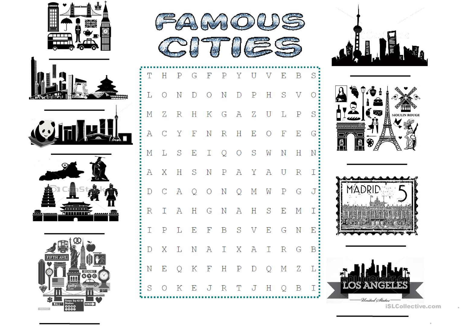 Famous Cities Worksheet