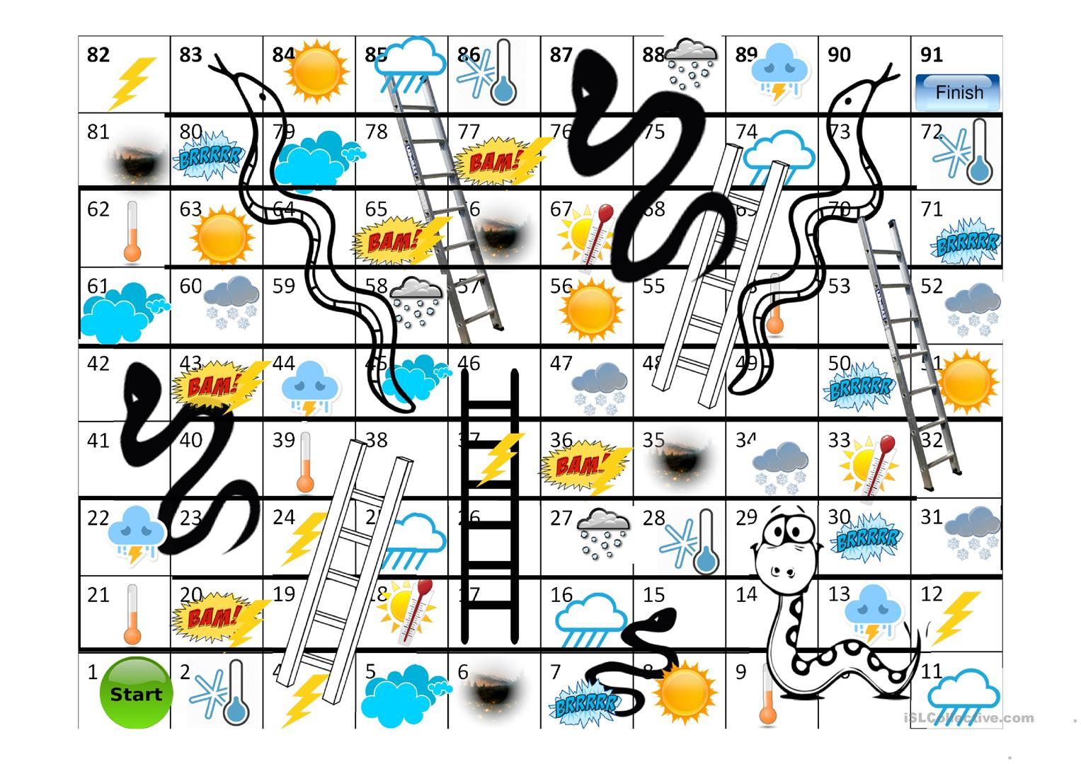 Game Snakes And Ladders Weather Worksheet