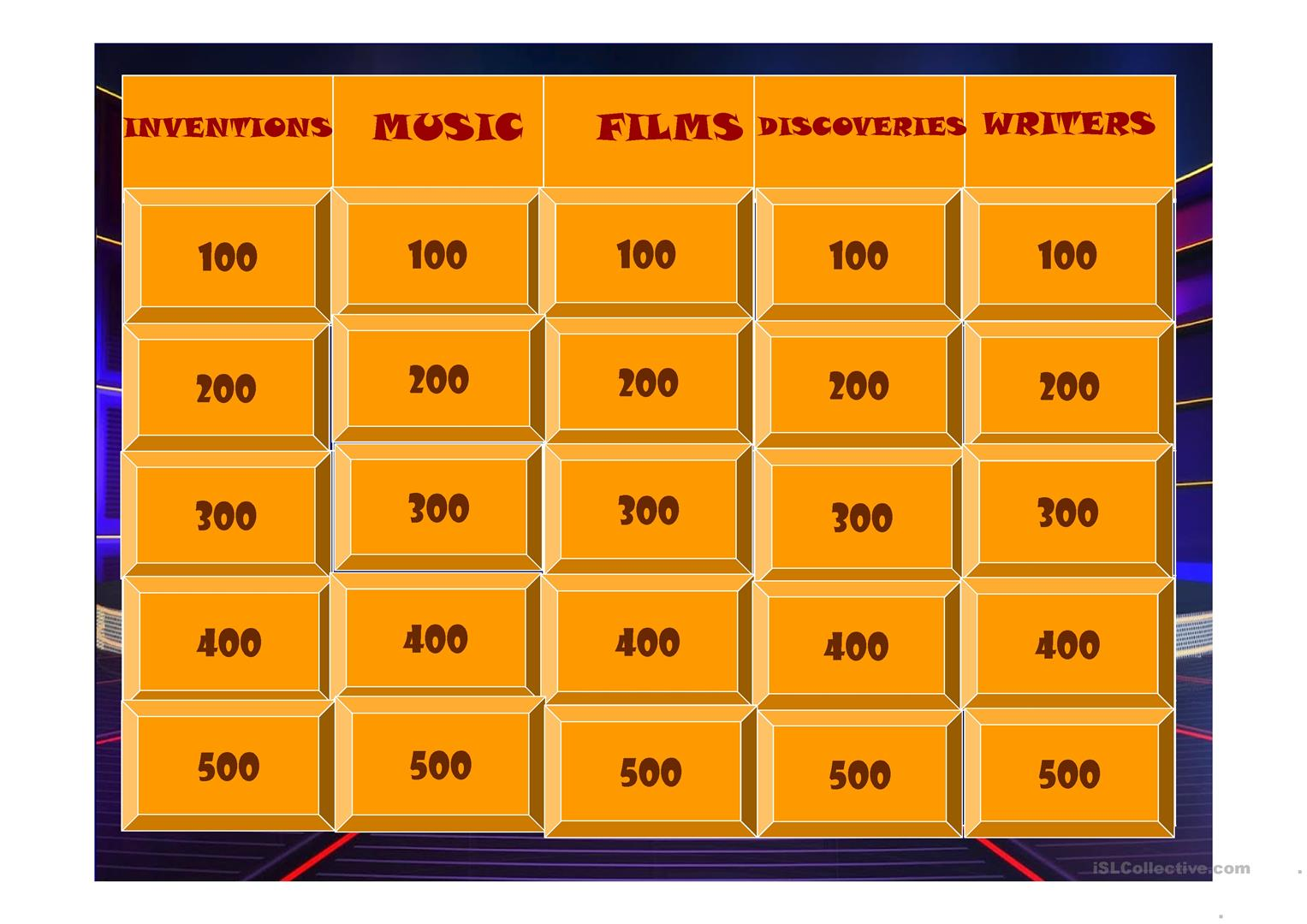Jeopardy Passives Worksheet