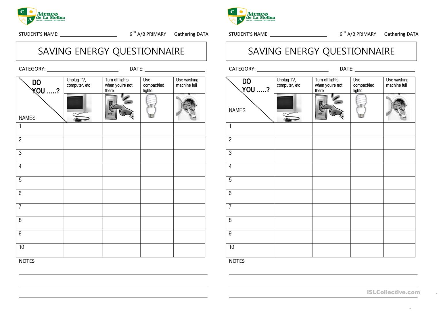 Save Energy Questionnaire