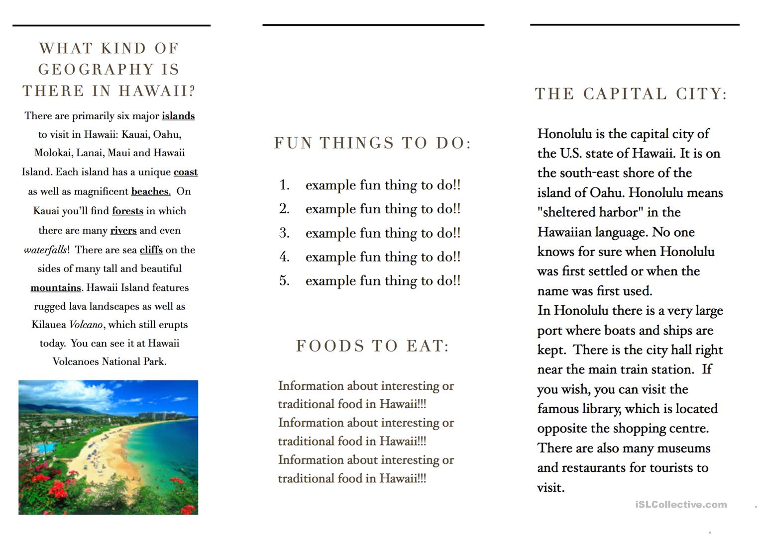 Travel Brochure Template And Example Brochure Worksheet