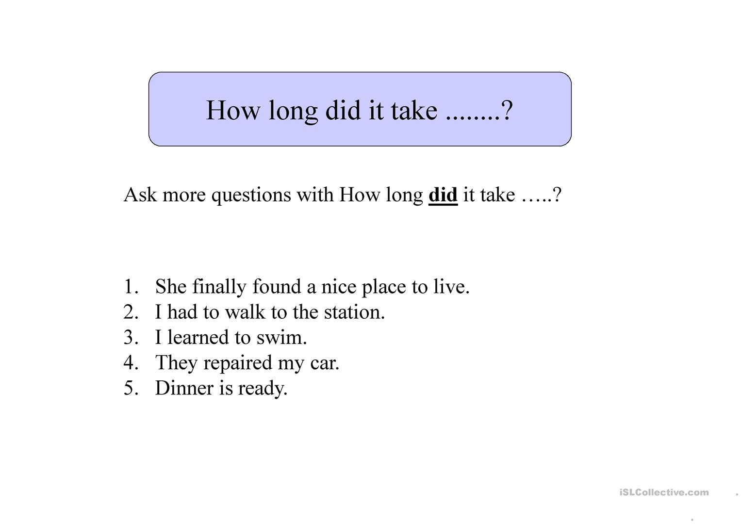 How Long Does It Take To Worksheet