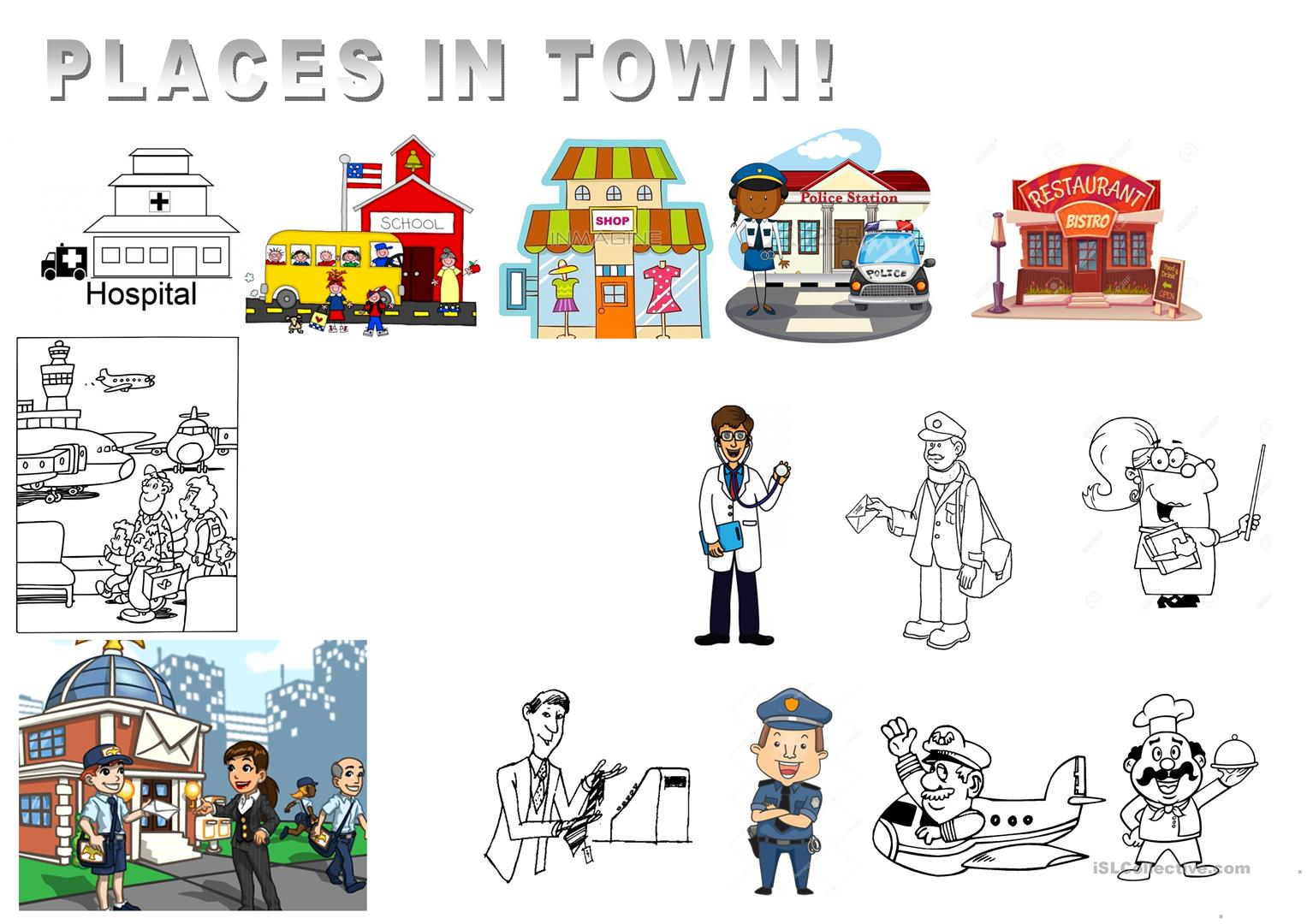 Places In Town And Jobs Worksheet
