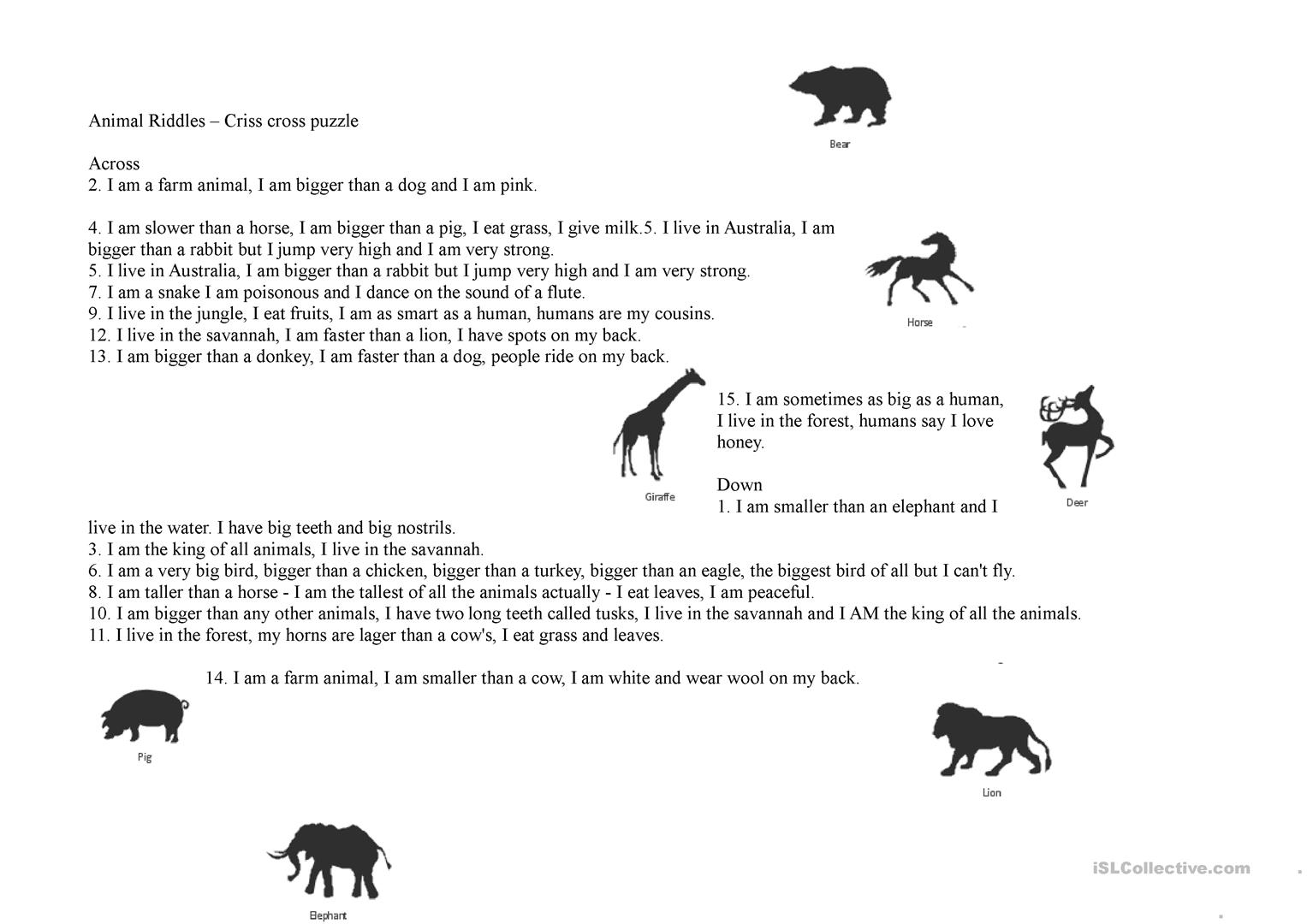 Animal Riddles Criss Cross Puzzle