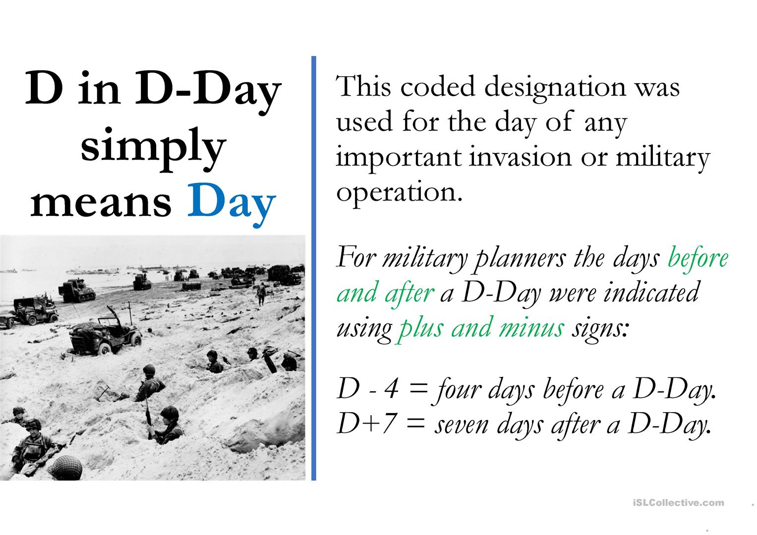 D Day Slide Presentation For Esl Worksheet