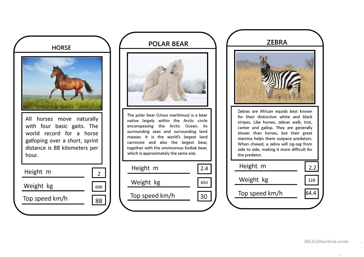 Animal Top Trumps Game Worksheet