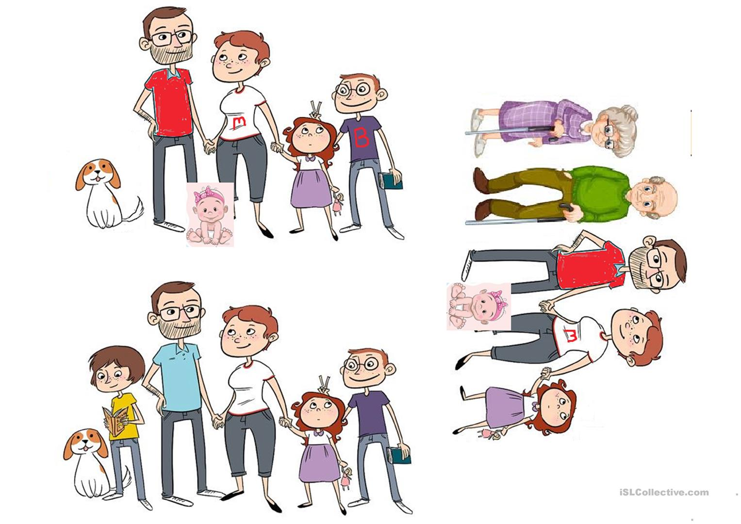 Spot The Differences Family Portraits Worksheet