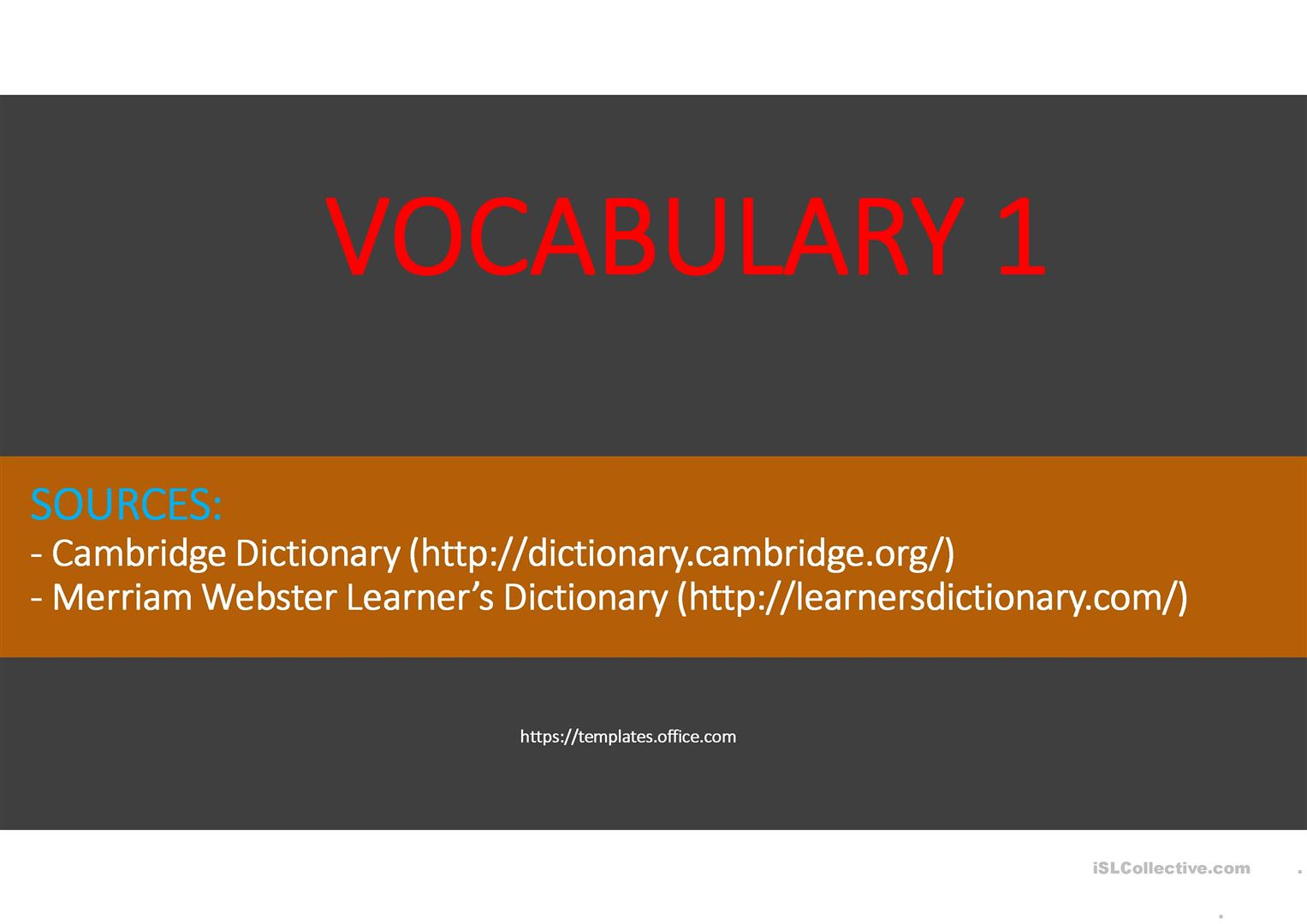 Vocabulary 1