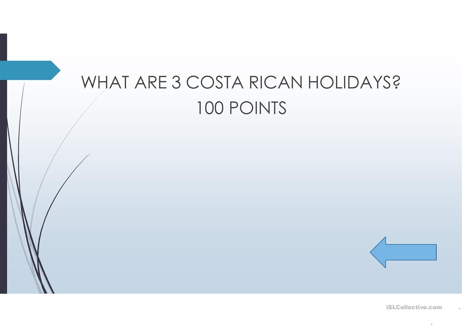 Holidays In Costa Rica And Natural Resources Worksheet