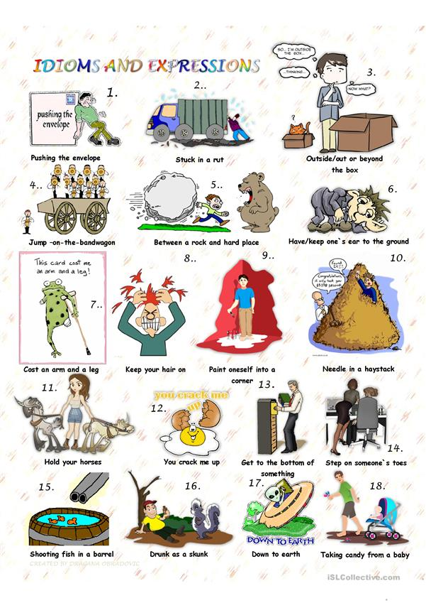Idioms And Expressions With Key Worksheet