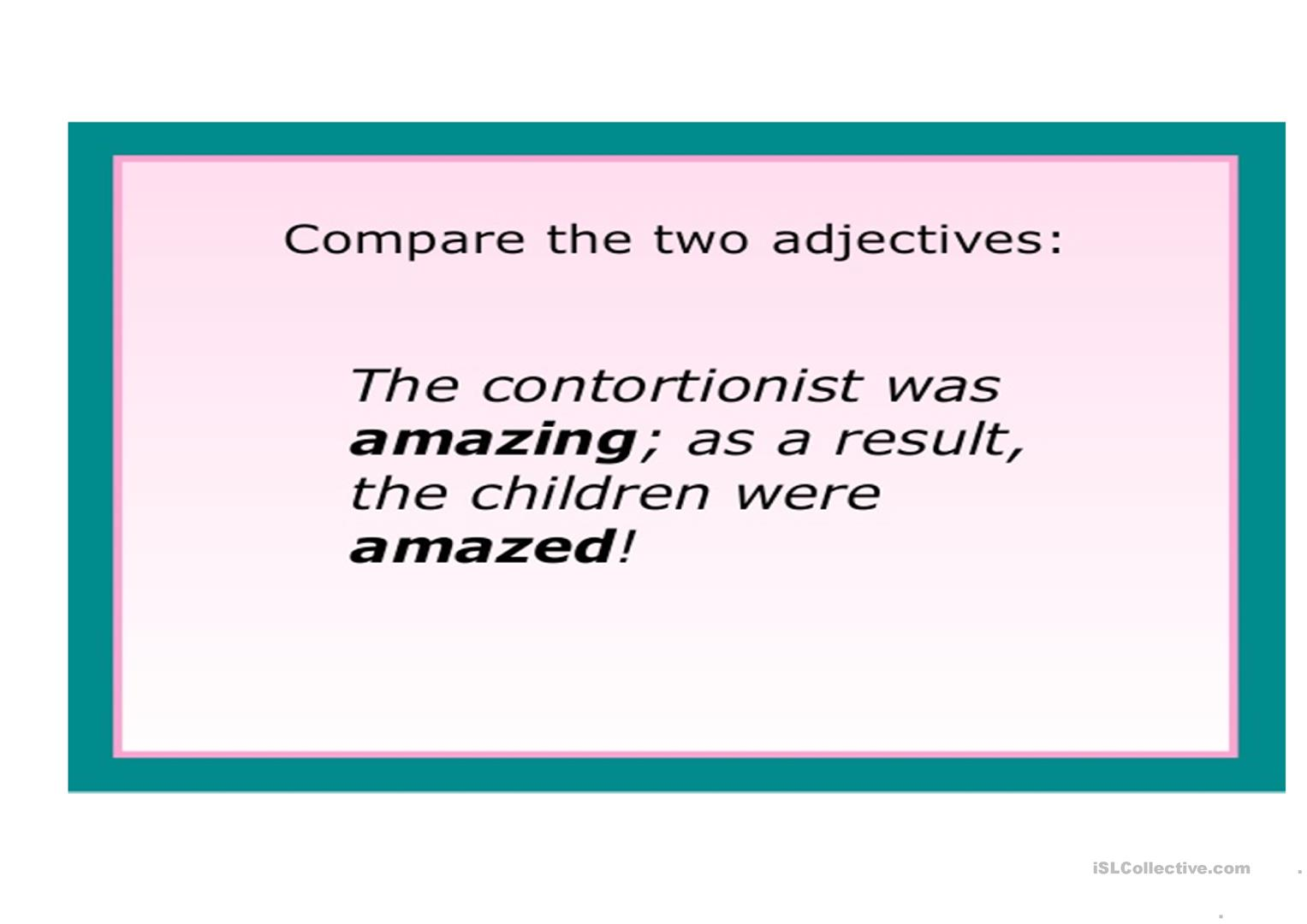 Worksheet Adjectives Ending In Ed And Ing