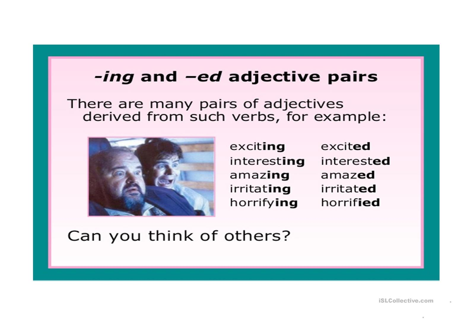 Adjective Ending In Ed Amp Ing