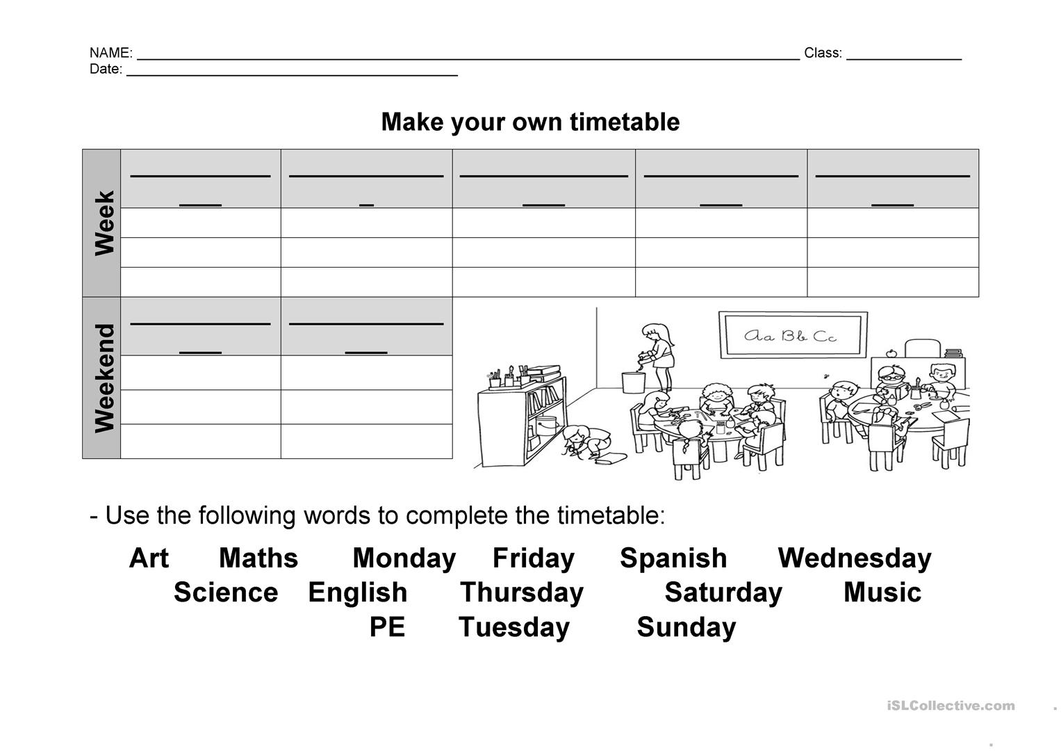 Make Your Own Timetable