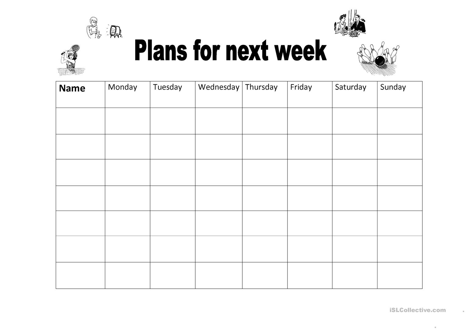 Plans For Next Week Worksheet