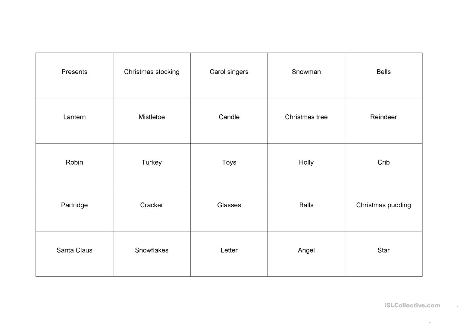 Christmas Memo Game Worksheet