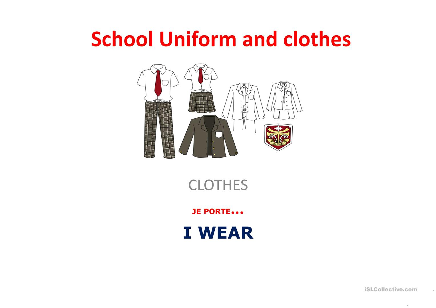 School Uniform Worksheet