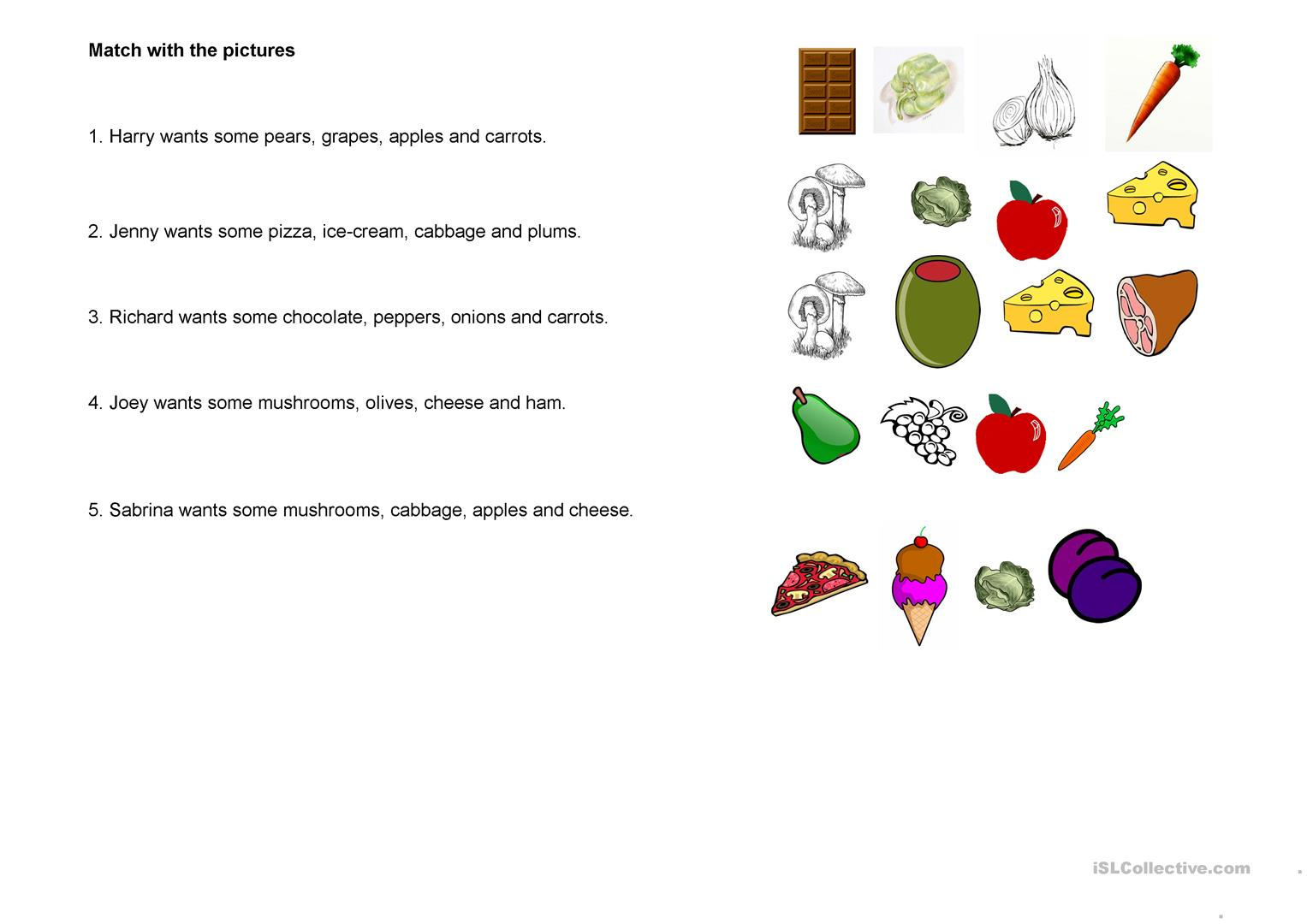 Match The Fruit And Vegetables