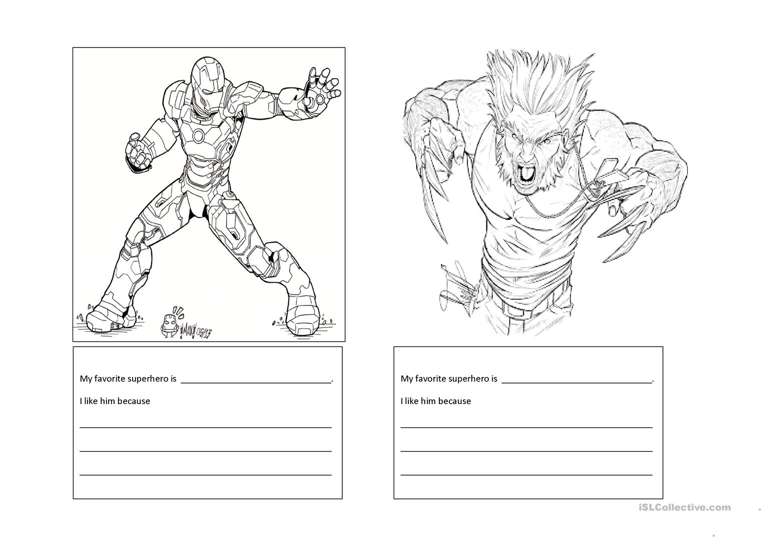 My Super Heroes Worksheet