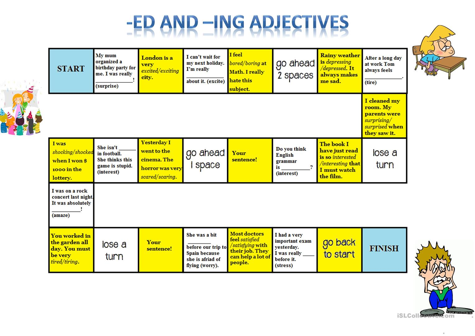Ed Ing Adjectives Board Game Worksheet