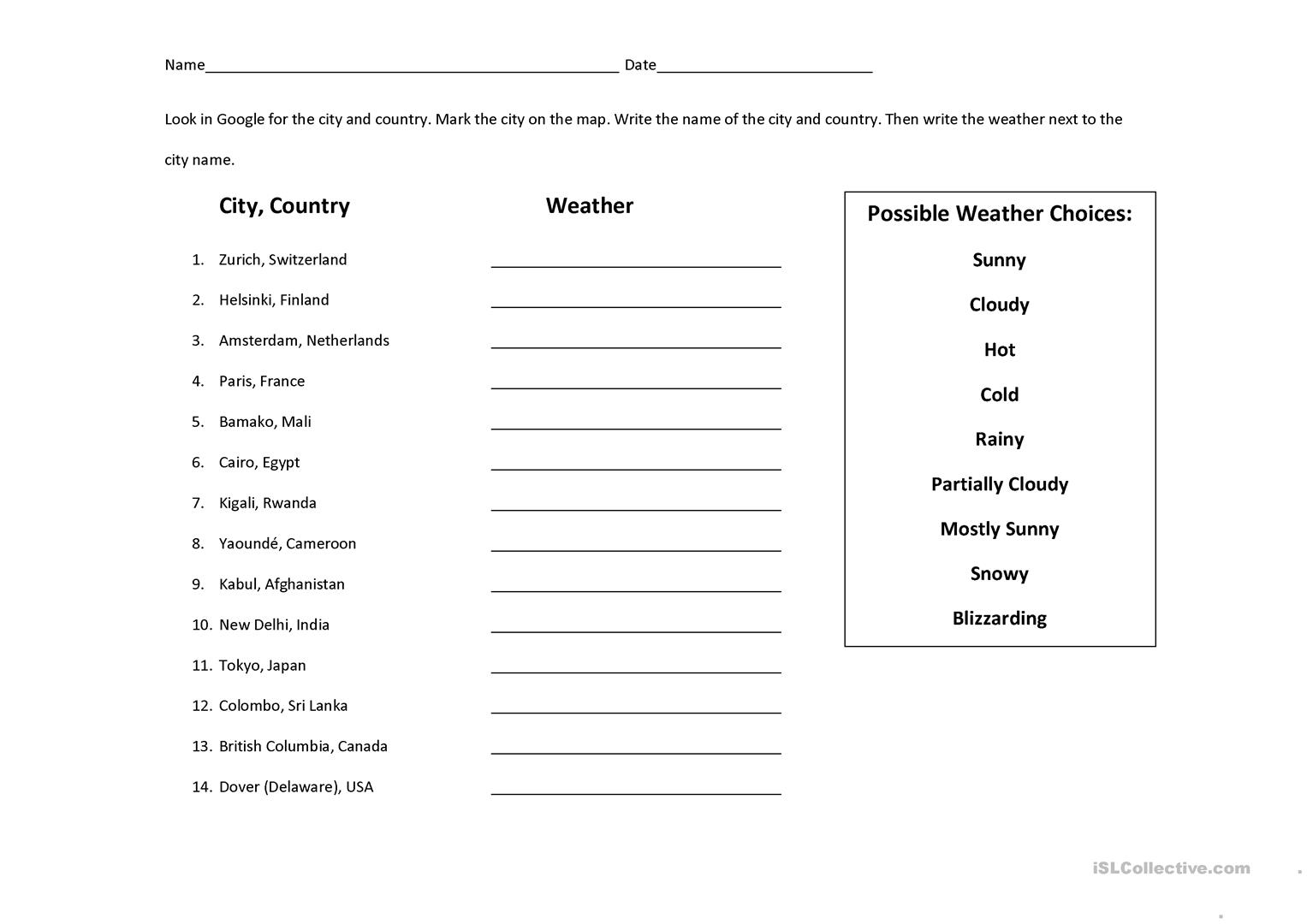 Weather Search Amp Map Identification Worksheet