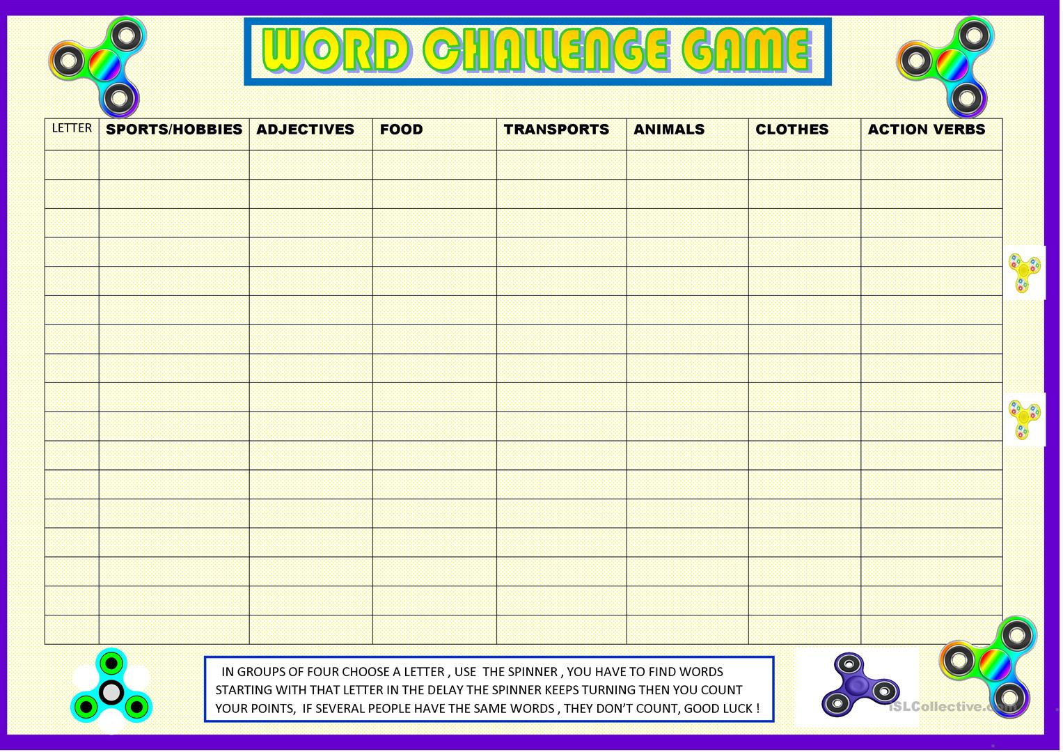 Word Challenge Game To Revise Vocabulary Worksheet