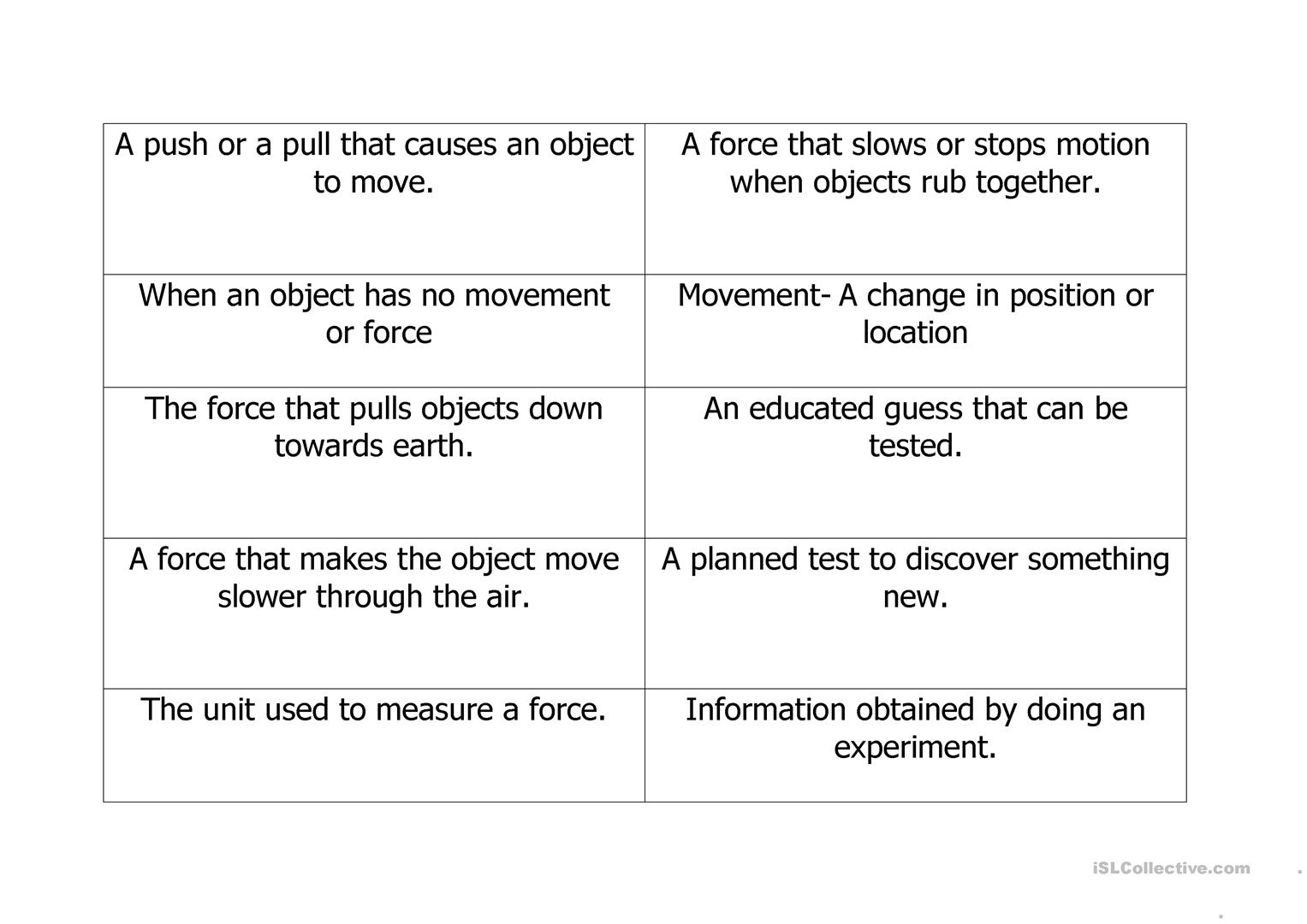 Forces Vocabulary Sheets