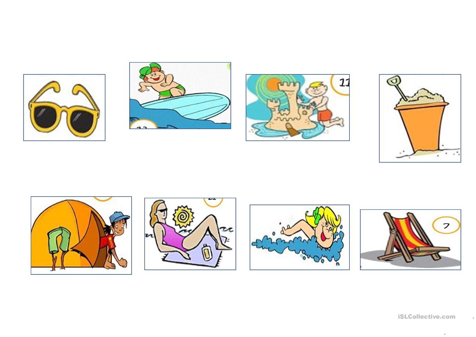 Summer Beach Vocabulary And Game