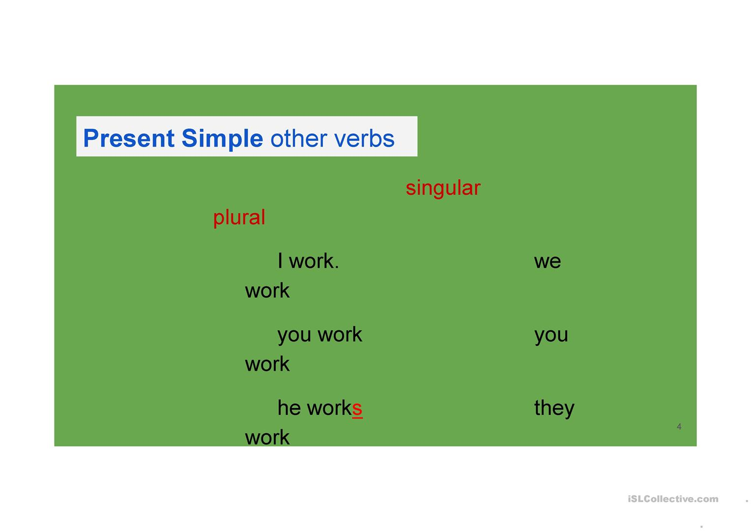Revision Of Present Tenses Present Simple