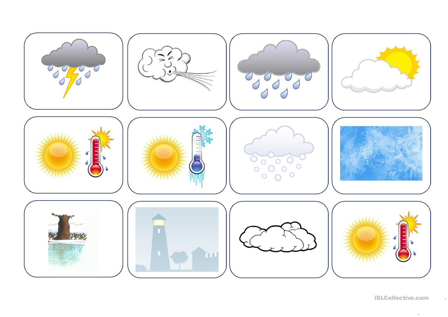 Weather Card Game Caillou Gets Dressed Worksheet