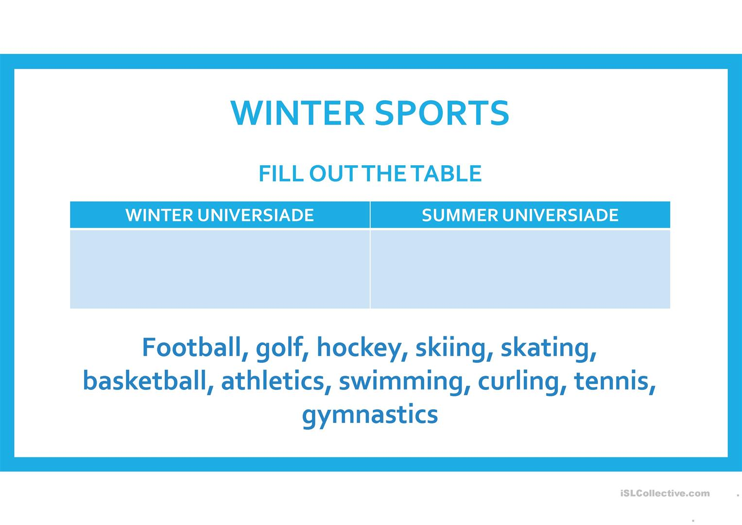 Winter Sports Worksheet
