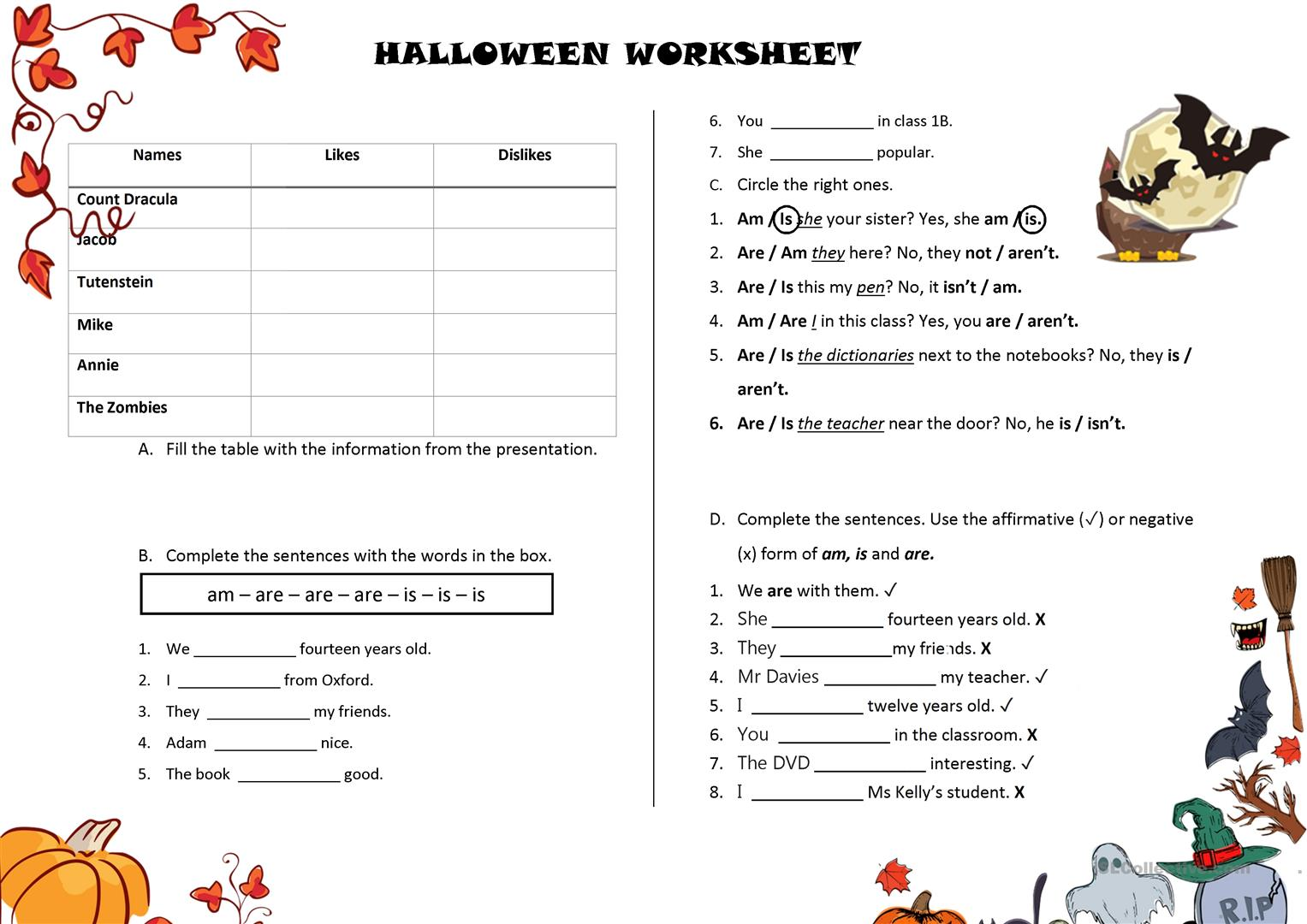Halloween Presentation Worksheet Worksheet