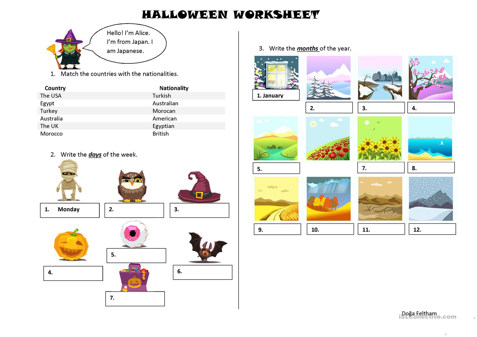 Halloween Themed Revision Worksheet