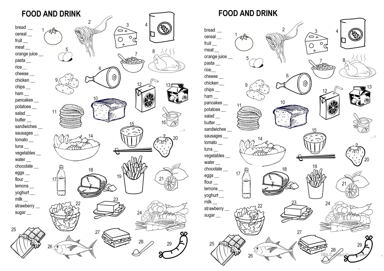 Drinks And Food Worksheet