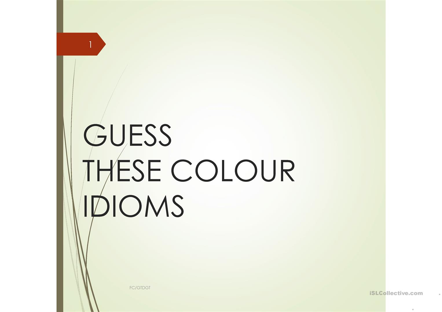 Guess These Colour Idioms Fc Gtdgt