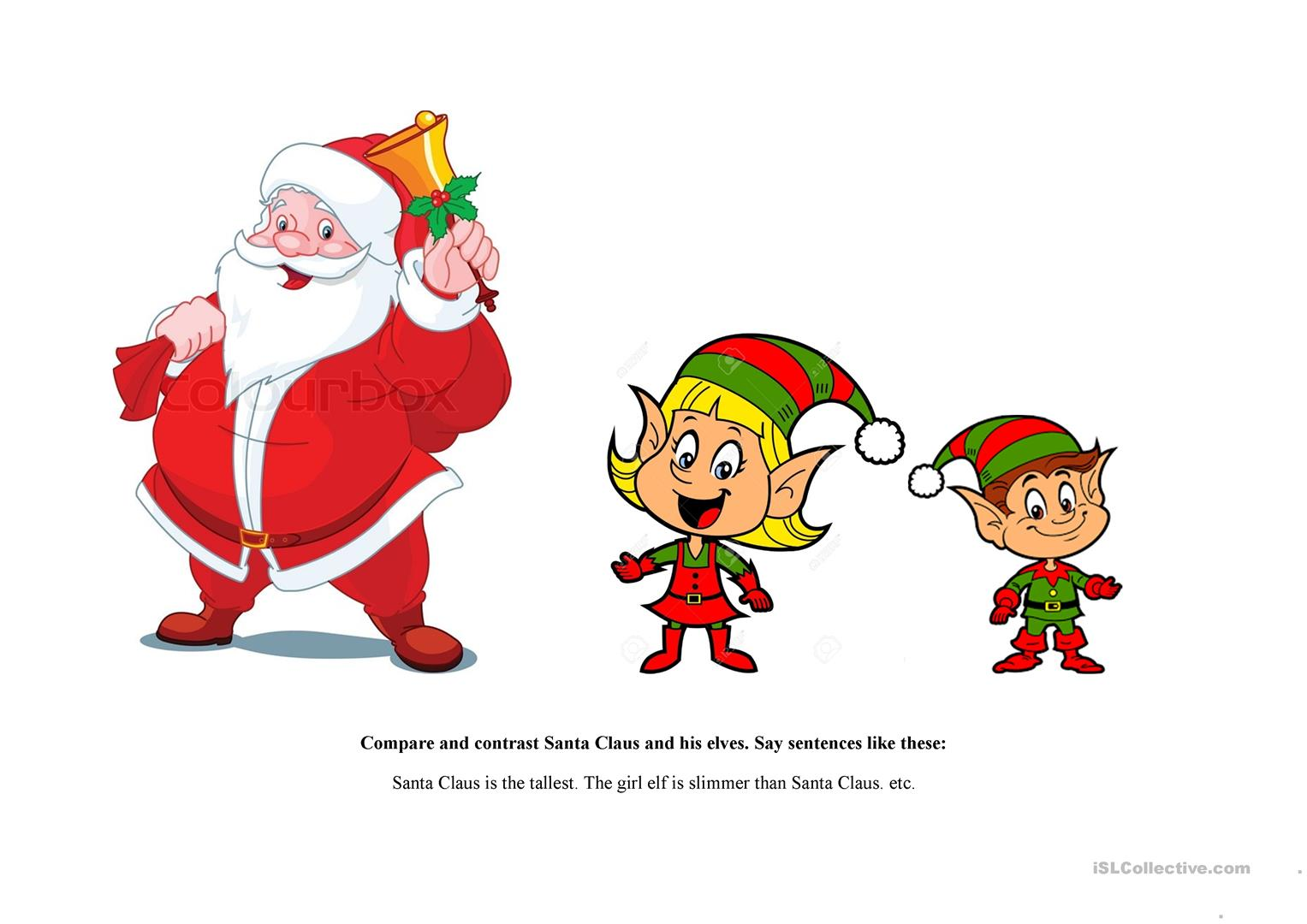 Compare And Contrast Santa Claus And His Elves Worksheet