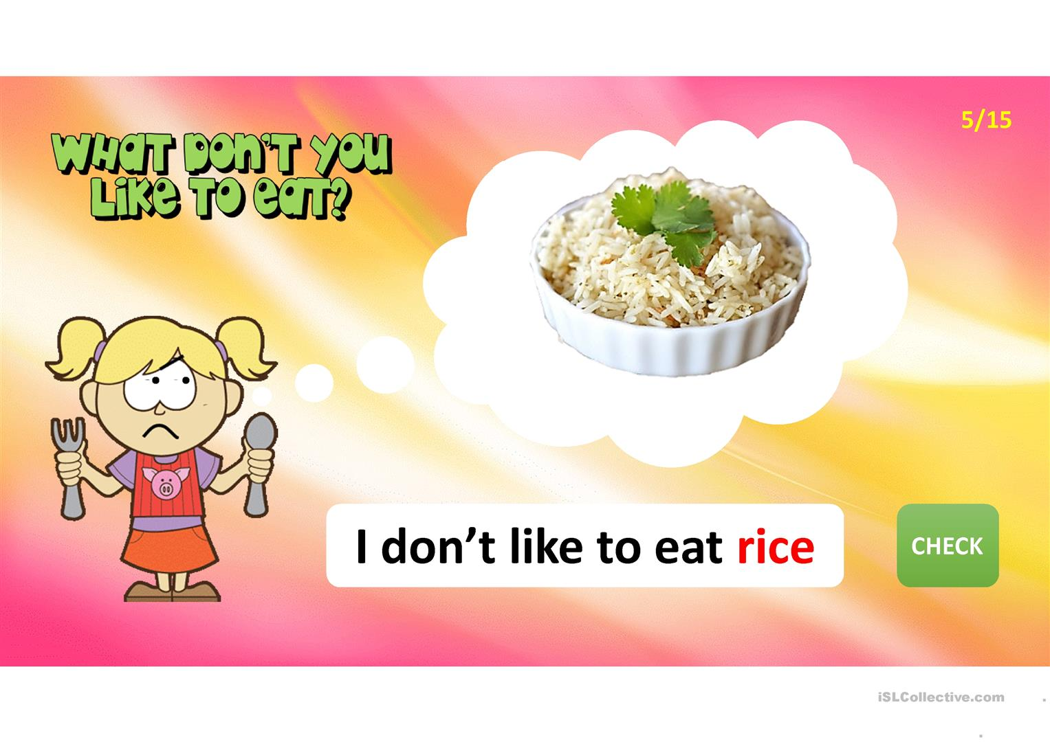 What Do You Like To Eat Worksheet