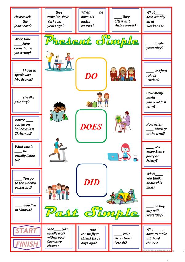 A Boardgame Do Does Or Did Worksheet