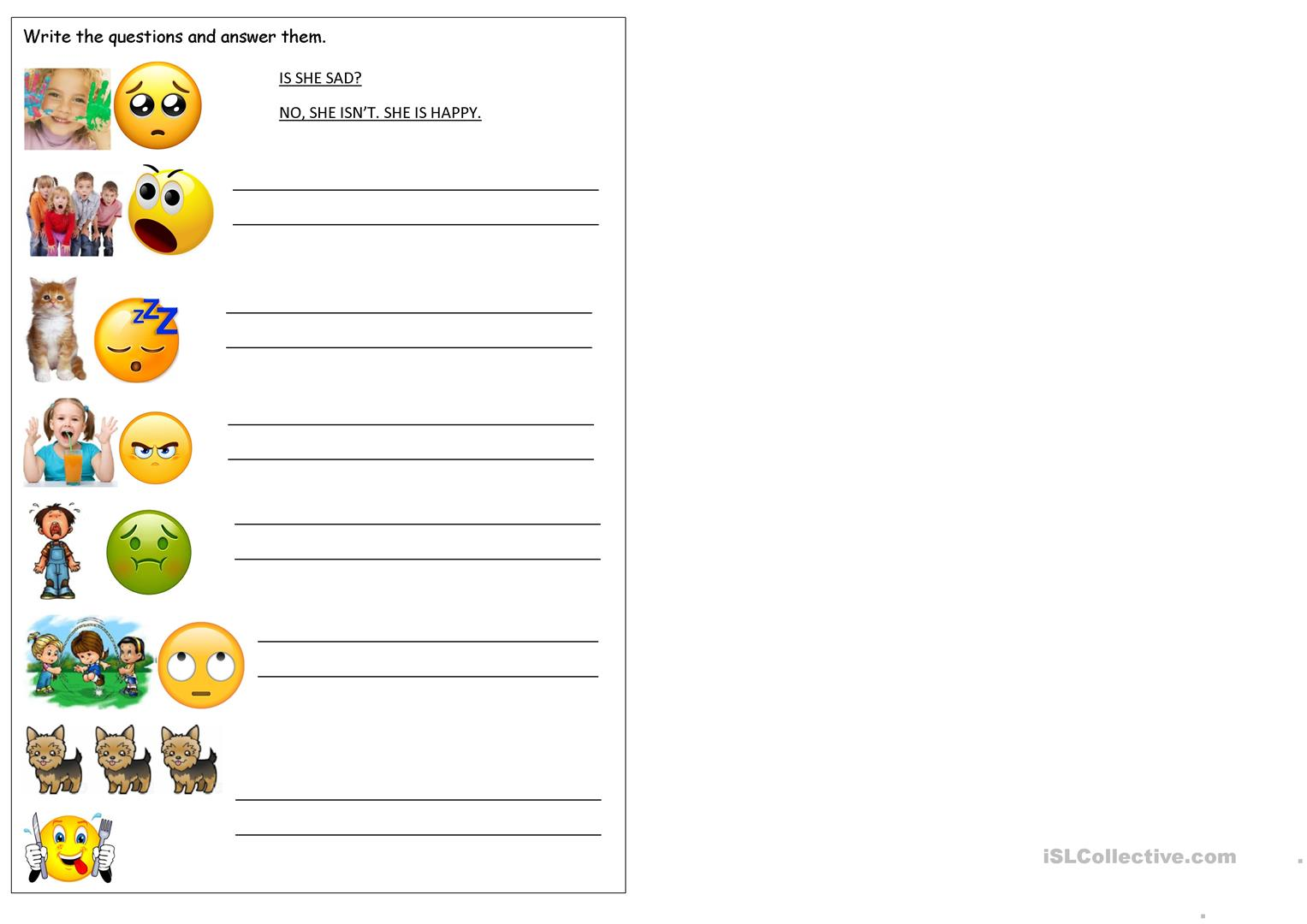 Emotions With Verb To Be Worksheet