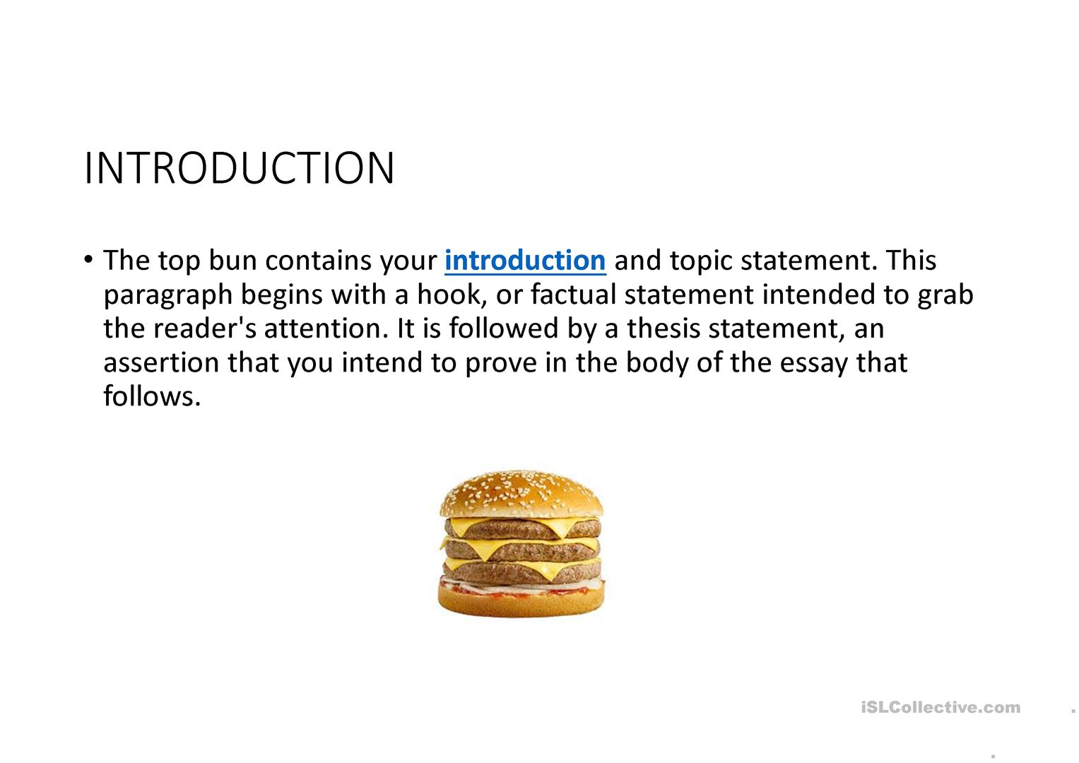 Essay Writing Hamburger Style