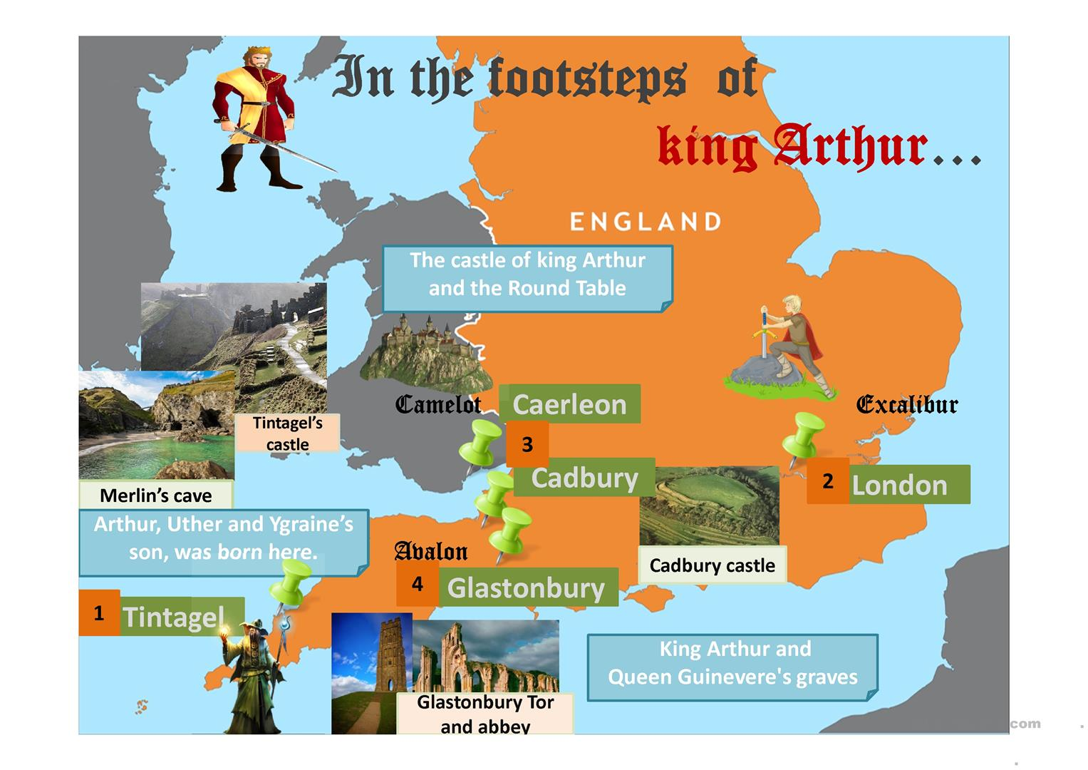 Map In The Footsteps Of King Arthur