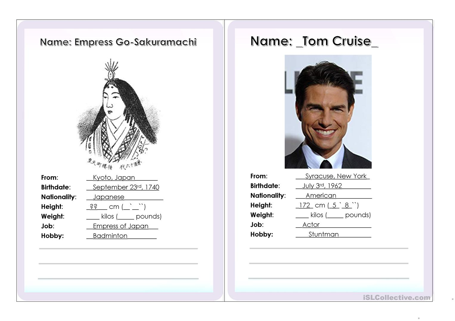 Guess Who Role Play Interview Cards