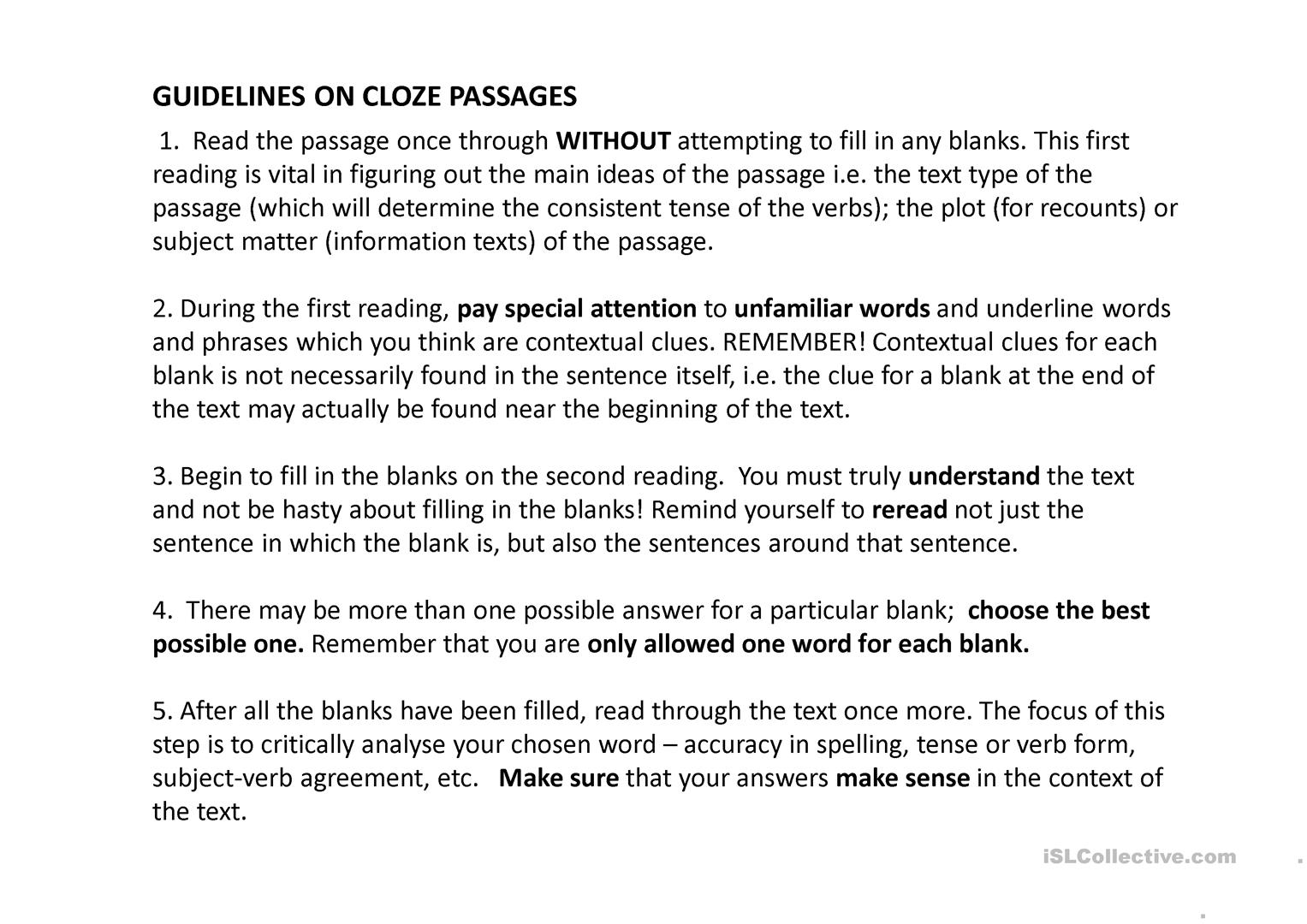 Guidelines On Cloze Passage