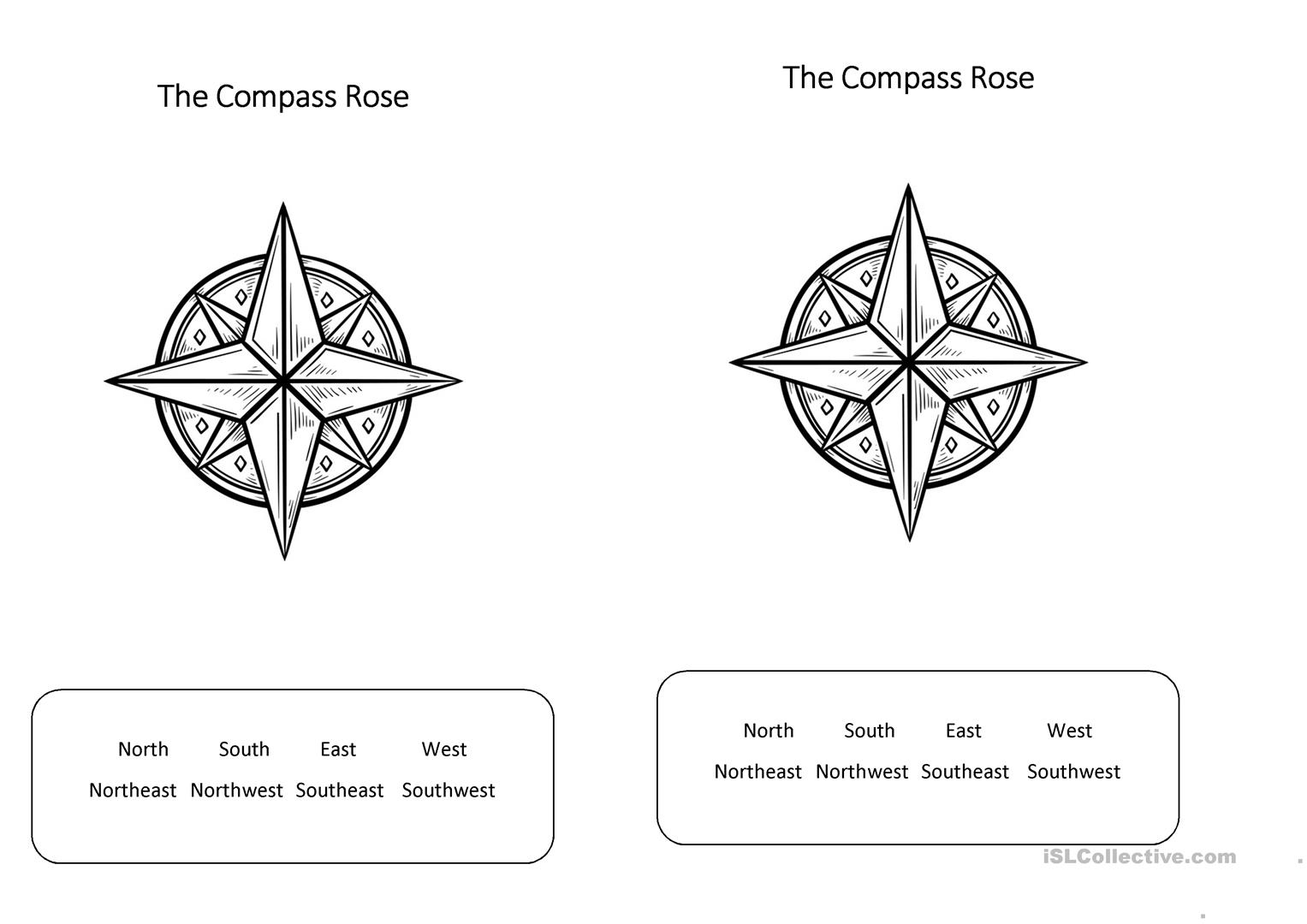 The Compass Rose Worksheet