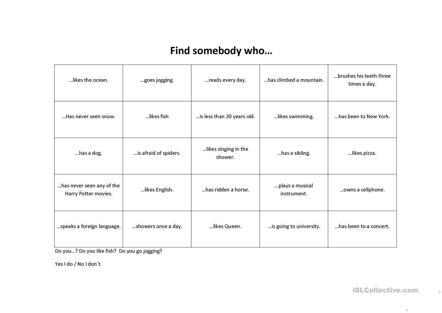 Find Somebody Who