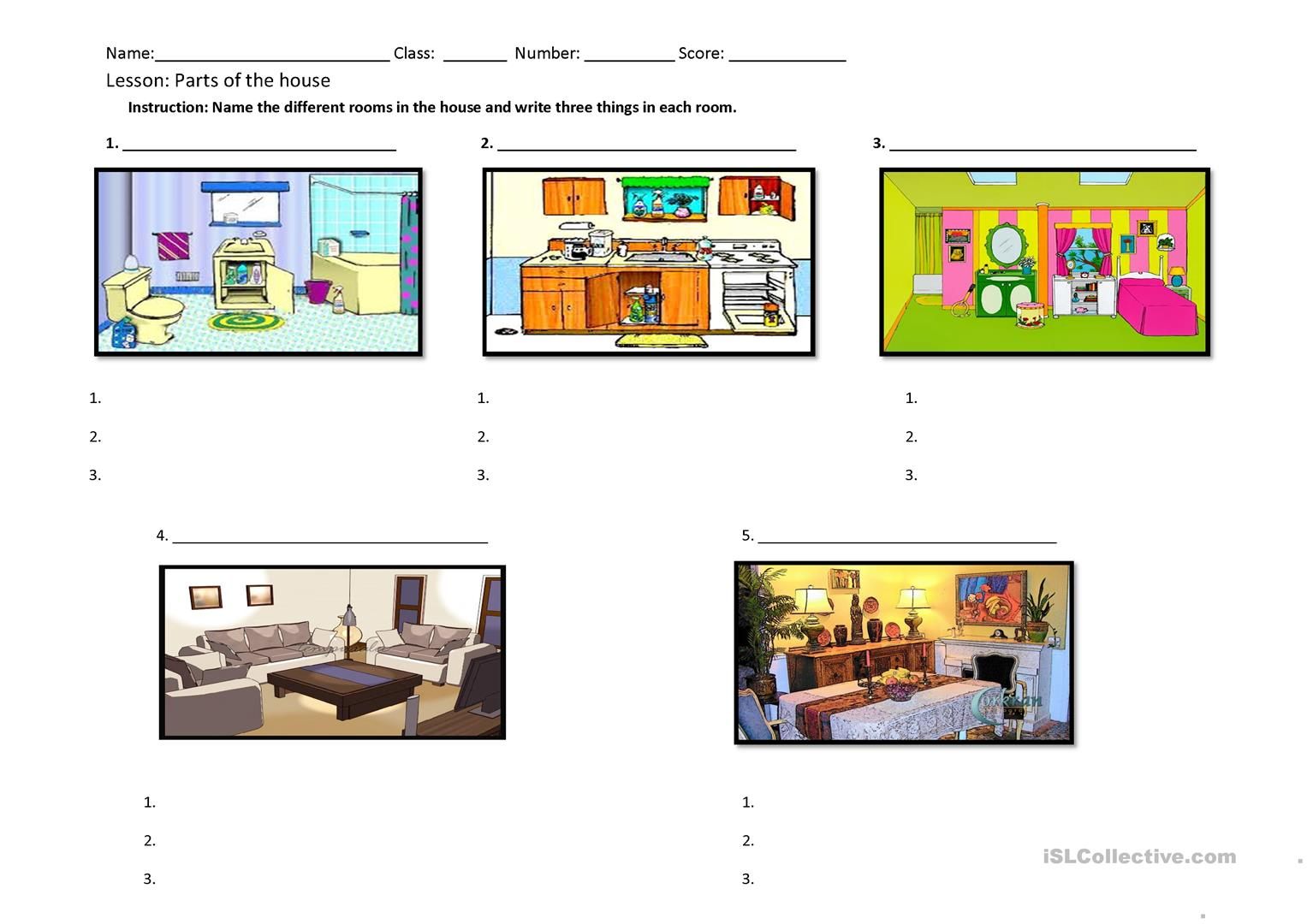 Rooms And Things In The House Worksheet