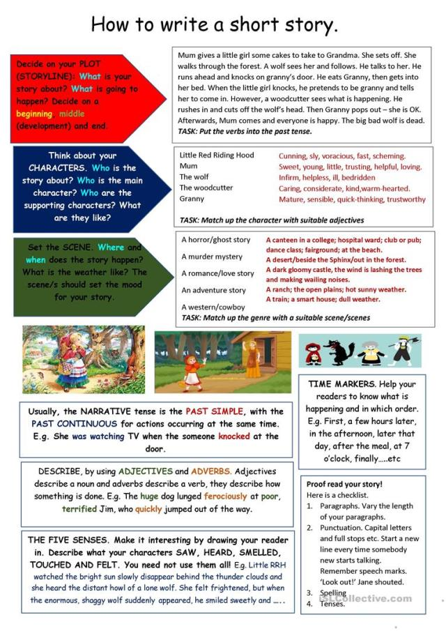 Tips on writing a short story - English ESL Worksheets for