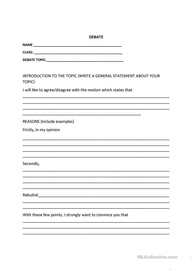 debate template - English ESL Worksheets for distance learning and