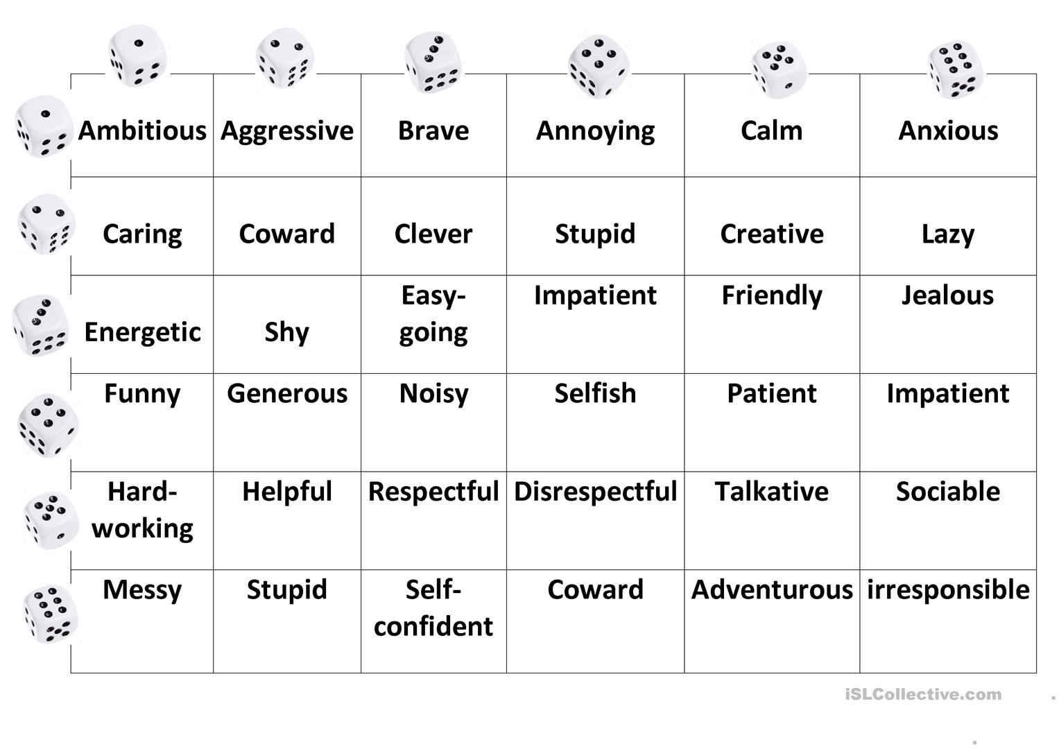 Personality Dice Game