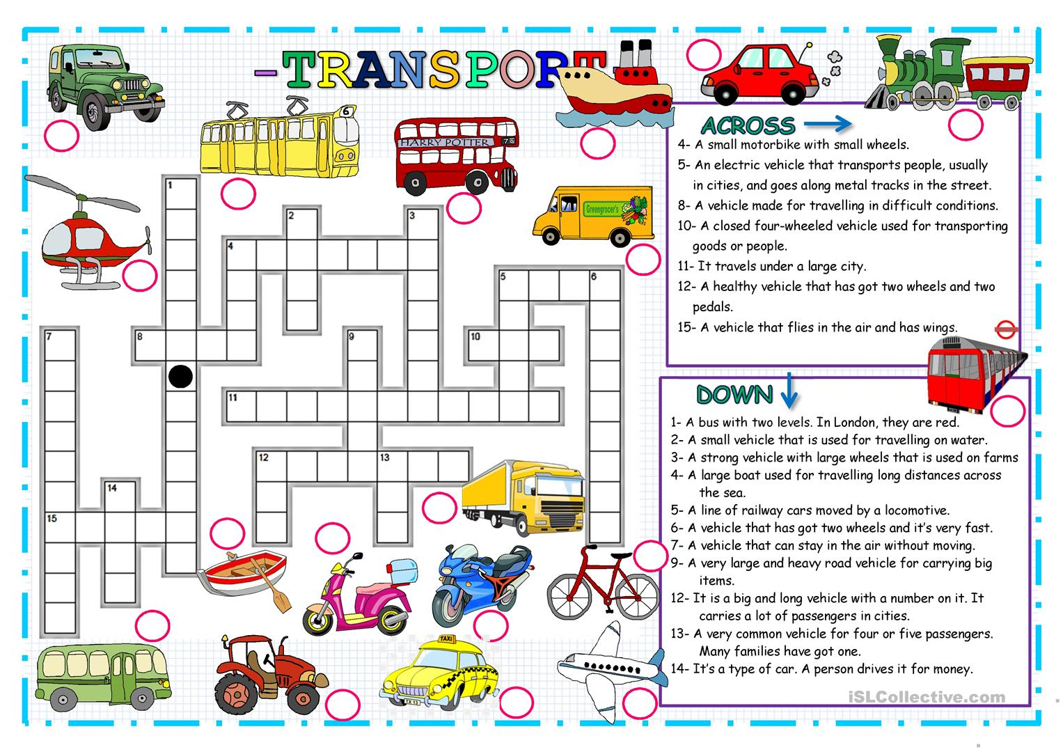 Transport Crossword Puzzle
